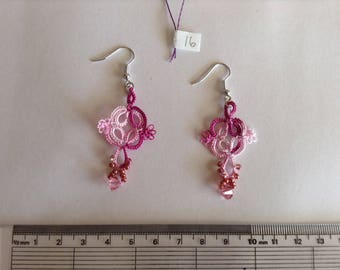 Variegated pink cotton hand tatted earrings