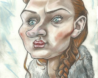 Sansa Stark pouting furiously in the winter snow A3 print 600 pixels per inch resolution. Signed by the artist.
