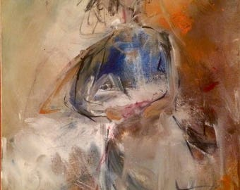 Loving Care  abstract painting canvas 20 X 15.5 in