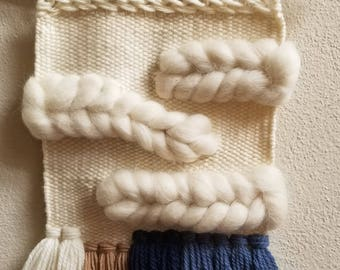 Woven Wall Hanging/Woven Wall Tapestry Weaving/Blue,White Wall Decor NEW