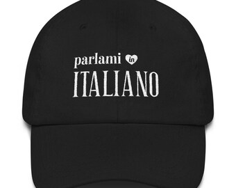 Talk to Me in Italian Hat, Italian Student Teacher Gift, Italian Language Lover Hat, Learn Italian Study Gift, Italy Travel Gift for Men/Her