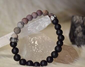8mm Matte Black Onyx and Matte Artistic Jasper Beaded Bracelet
