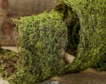 6.5 FT.  Moss Ribbon Gift Packaging Christmas Garland Natural Rustic Shabby Chic Wholesale Ribbons Outdoor Woodland Woodsy Garden Theme