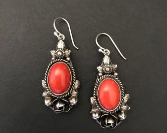 Antique Silver & Coral Earrings