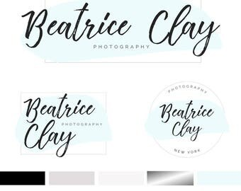 Branding Kit Template, Photography Logo, Photographer Logo, Branding Kit, Blue Grey Logo, Premade Logo, 3 Logos, INSTANT DOWNLOAD, DIY Logo