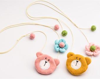 Worried Bear w/Flower Necklace