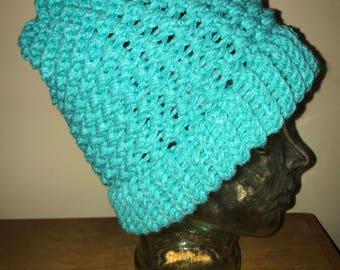 Aqua Complex Knot Pattern Knit Beanie