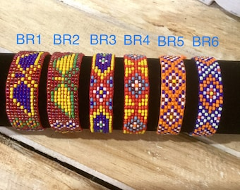 Beaded Friendship Bracelets/Hand Beaded/Surfer/Wristband/CottonThread/Red/Orange colour