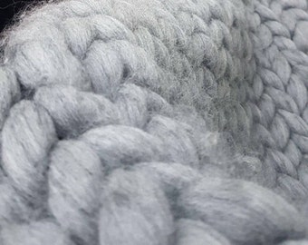 Hand knitted chunky throw