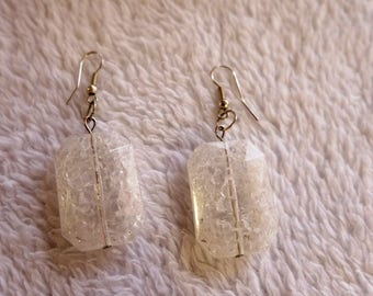 Earrings of broken glass. white, transparent, clean. The length is 5.5 cm.