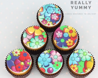 Funky flowers cupcake toppers - 6