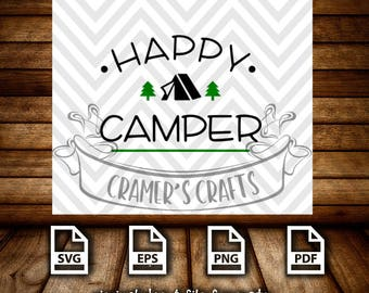 Happy Camper Simple SVG, Cuttable Files, Camping, Summer, Tent, pdf, png, epsCramer's Crafts