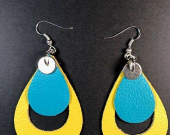 Leather earrings, teardrop earrings, drop earrings. 2 inch earrings,