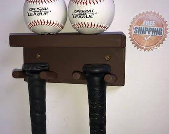 Baseball Bat Rack Display Holder Rack meant to Hold 3 Full Size Standrad Bats and 2 Baseballs Wood Wall Mount