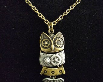 Bronze and Grey Steampunk Sectioned Owl Necklace