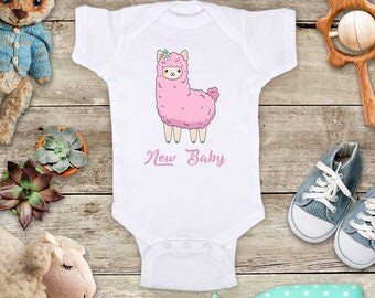 New Baby Llama Alpaca lama girl Baby bodysuit - cute birthday baby shower gift baby birth pregnancy announcement