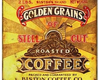 Biston Steel Cut Coffee Reproduction Metal Sign 12x12