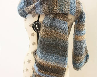 Blue Marble Scarf. Handmade crochet scarf made with marble wool. Very warm.