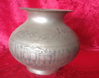 Vintage Ottoman & Islamic Style Antique Hand Carved Brass Pot / Lota #2423
