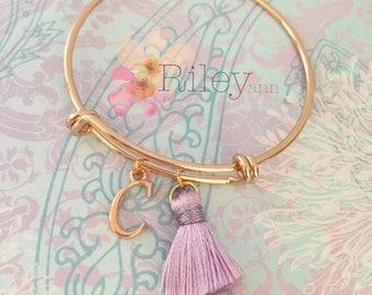 Girls rose gold bracelet - personalized charm bracelet - initial bracelet - kids adjustable bangle - young girls jewelry - tassel bracelet