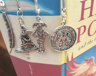Silver metal Harry Potter inspired bookmarks, Feather, Sorting Hat, Coin, Dobby the house elf