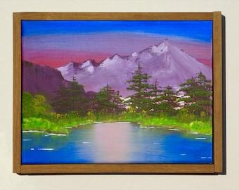 Original landscape painting, Mountains Lake