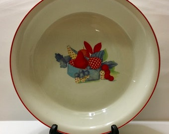 Universal Potteries Calico Fruit Red Trim Pie Plate