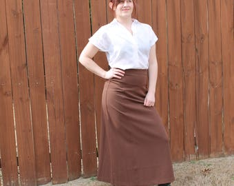 Vintage High-Waisted Brown Skirt