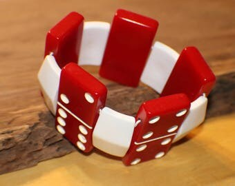 Vintage Domino Bracelet - Red Lucite Dominoes - White Bracelet Spacers - Recycled - Game Piece Collection