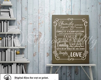 Family sayings svg, frame svg, inspirational saying svg, ai dxf emf eps pdf png psd svg svgz tif files for cricut, silhouette, brother