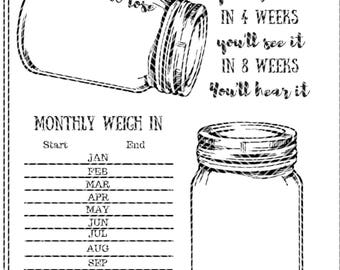 Weightloss Tracker Mason Jar  Instant Download