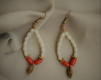 Freshwater pearl and coral earrings