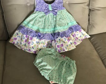 Ruffle dress with bloomers, Bonnie Bell dress, size 6 to 9mos, purple, green and pink butterflies
