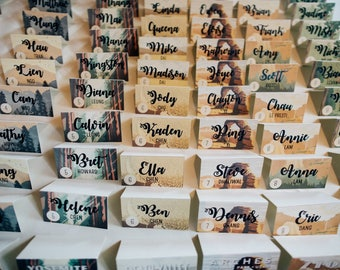 Wedding name cards, National Park, outdoor, adventure style, rustic, calligraphy, unique place cards