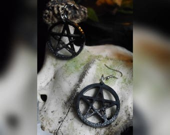 Pentagram earrings, pentagram earrings-witch, witchy, Goth, Strega, Pagan, Wicca, Rutial, Occult