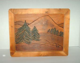Rustic Wood Burned Framed Art