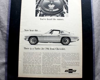 1966 Corvette Stingray Ad, Car & Driver 1965. 14x11.5 Auto, car, muscle car enthusiast would love this for their wall. Ready to Hang!