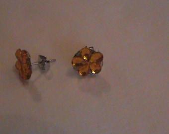 Yellow flower post earrings