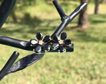 Black Onyx Flower Earrings - 22k Gold Plated