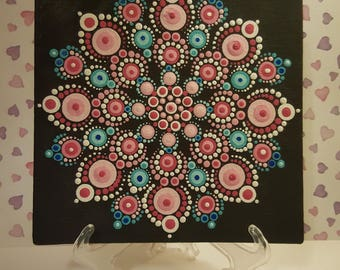 Pink blue dot mandala