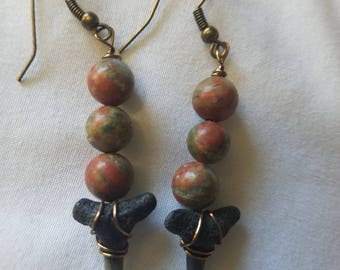 Handmade wire wrapped Shark tooth and Unakite earrings
