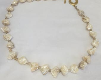 "25"" large baroque pearls with Swarovski crystal"