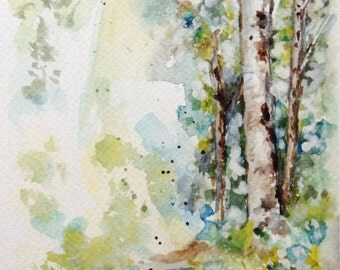 Birch tree, Original watercolor painting, Birch tree painting, Wall Decor