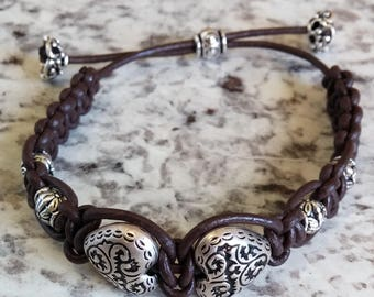 Brown Leather Facing Hearts Beaded Bracelet with Drawstring Closure