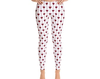 LWomen's Valentine Little Hearts-Leggings,Beautiful Pattern leggings, full printed, Printful, USA,Made for you, Modern,Trendy Design store,