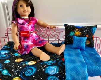 "18"" Doll BeddingSet/American Girl Doll Bedding/3pc Bedding Set/Outer Space Bedding/Luciana GOTY 2018/Girl or Boy Doll Bedding/Outer Space"
