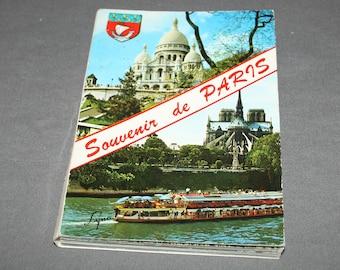Vintage 1970s Souvenir de Paris Postcard Book 20 postcards Souvenir Color Foldout France Memorabilia French Ephemera International Post Card