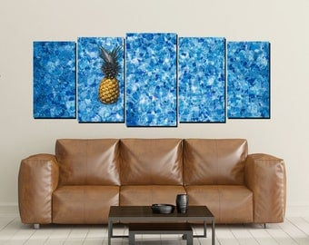 Swimming Pool Water Canvas Wall Art, Tile Blue Floating Pineapple Photo, Print, 5 Panel Large Set, Wall Decor
