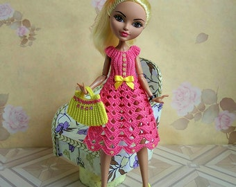 Pink Dress GalactikaMagicThread: Ever After High and Monster High fashion doll crochet