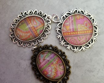 Multi-pattern Decorated Cabochon Necklace Pendants, Jewelry, Necklace, Accessory, Vintage and Antiqued Look